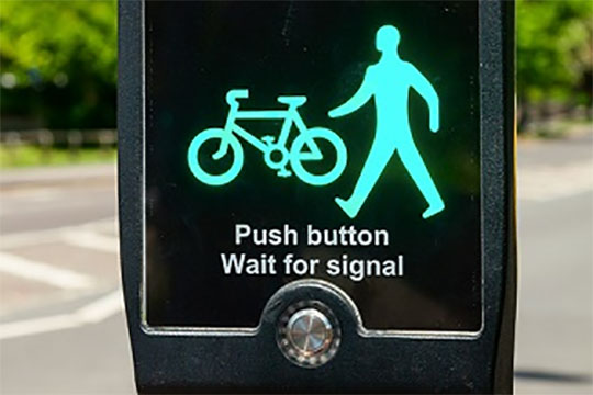 pedestrian cyclist green traffic light