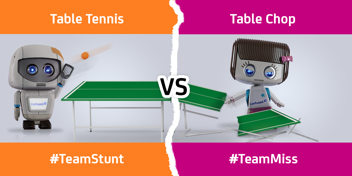 Stunt Herbert plays table tennis, Miss Herbert chops the table in half