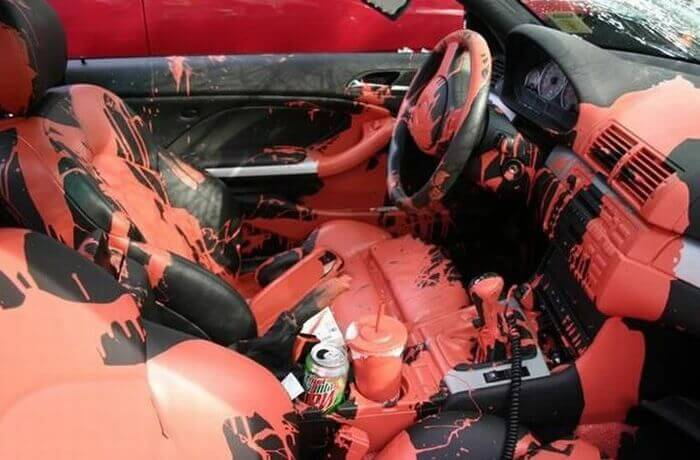 Paint spilled in a car