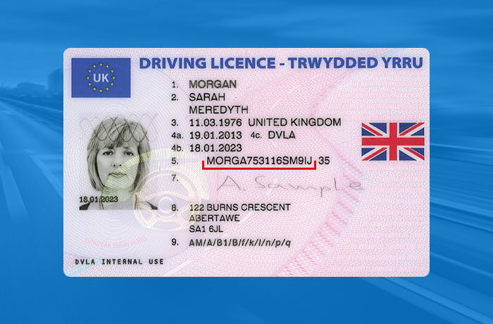 UK driving licence example