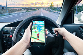 Pokemon Go in the car