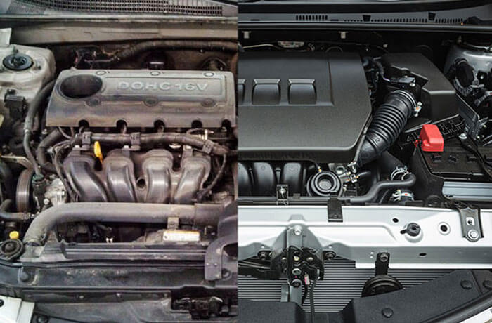 A well-maintained engine compared to an old one