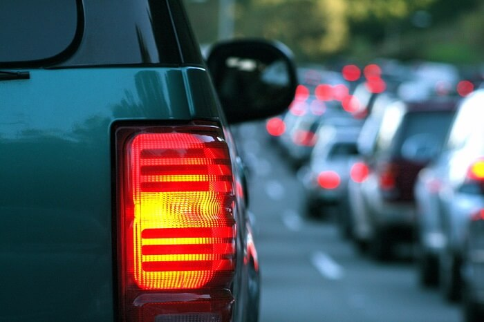 Traffic jam tail lights