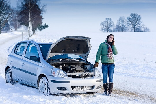 Woman with car in winter - main