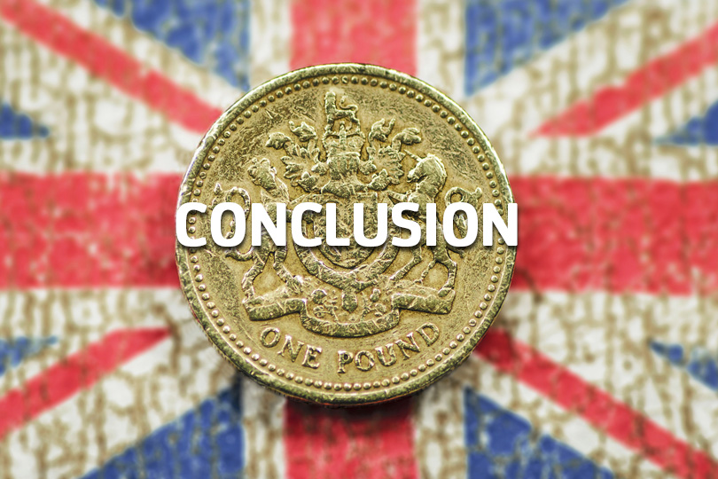 Conclusion - a pound coin on a union flag