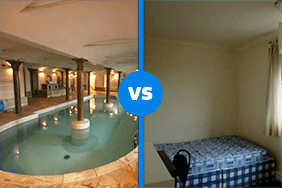 swimming pool vs bedroom