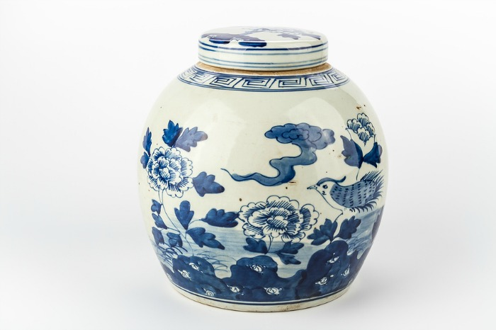 A blue and white vintage vase