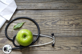 Apple and stethoscope