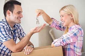 Couple moving into their new house