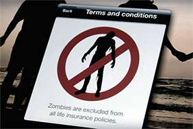 Zombies not allowed sign