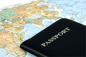 Passport on map