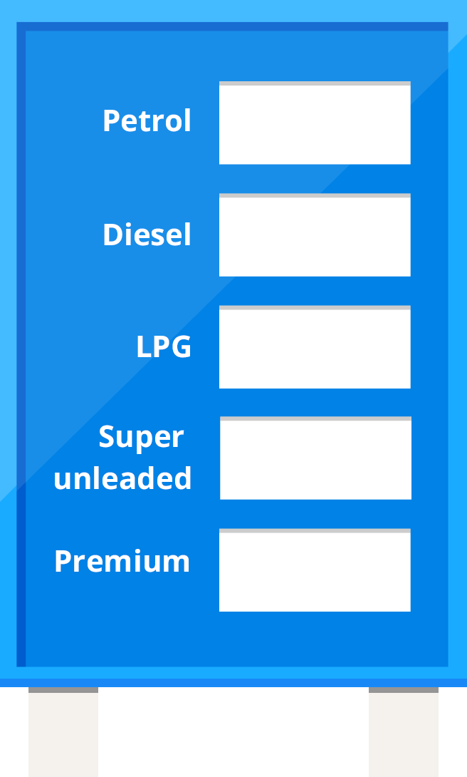 Blue image of a petrol prices style board illustrating the current cost of different types of fuel in the UK