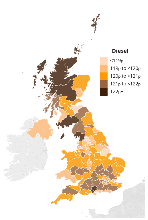A map of the UK illustrating the cost of diesel in different regions
