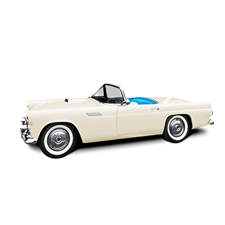 Classic convertible white car facing left