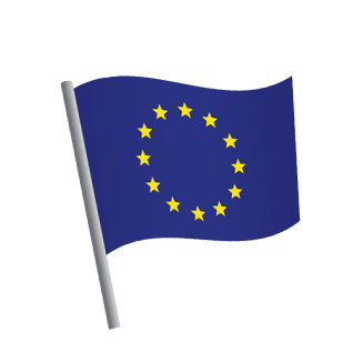 The European flag on a flag pole