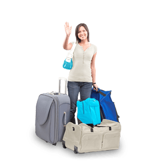 A woman waving with several suitcases